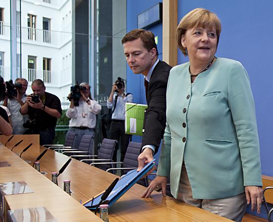 Bundeskanzlerin Merkel vor der Bundespressekonferenz Berlin