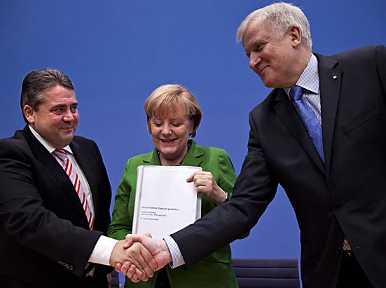 Merkel, Gabriel und Seehofer stellen Koalitionsvertrag vor