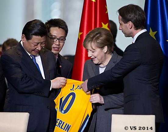 Bundeskanzlerin Merkel empfängt den chinesischen Staats- und Parteichef Jinping in Berlin