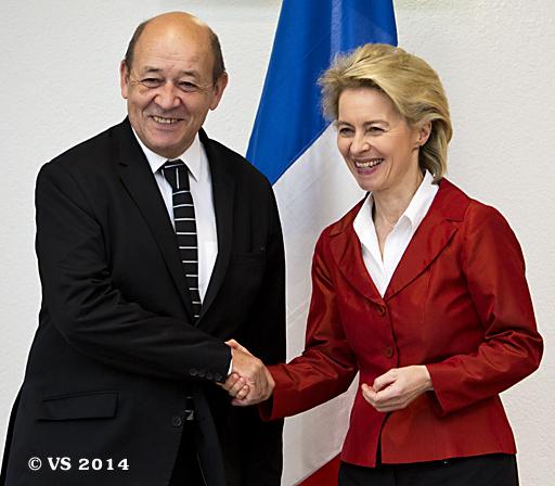 Bundesministerin der Verteidigung von der Leyen empfängt den französischen Amtskollegen in Berlin