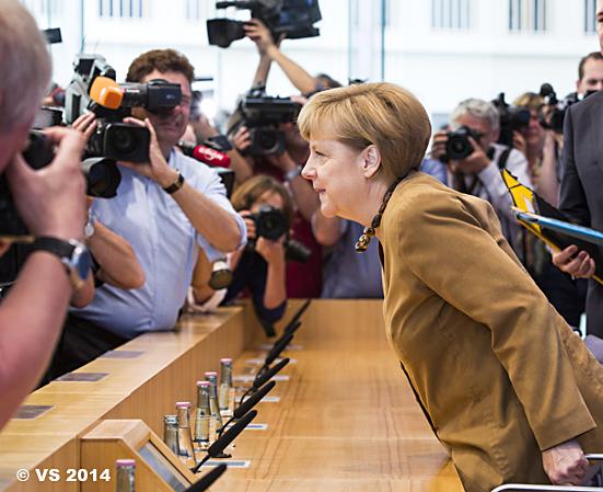 Bundeskanzlerin Merkel vor der Hauptstadtpresse