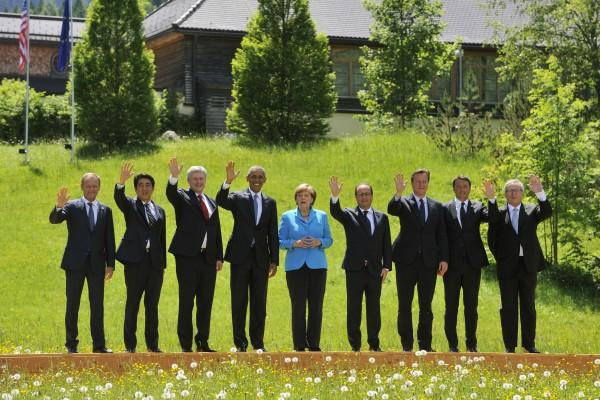 Die wichtigsten REgierungschefs beim G7-Treffen auf Schloß Elmau bei Garmisch-Patenkirchen
