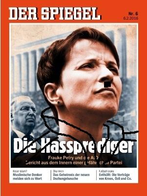 Bericht über die Partei AfD beim Spiegel Magazin. Auf dem Bild Frauke Petry im Vordergrund.(Bildmontage: medienmodul, Bildquelle: spiegel-online)